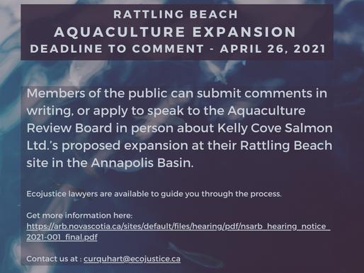 Rattling Beach Aquaculture Expansion deadline to comment