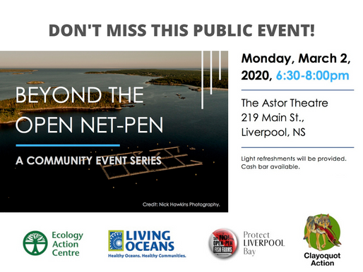 Don't miss this special community event in Liverpool tonight. SAY NO to open net-pen fish farms!