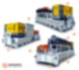 Сепарационная платформа с декантером для очистки и рециклинга бурового раствора - ротор с плоским конусом, увеличенный диаметр отверстия для выгрузки твердого вещества, труба подачи разделяемого продукта большого диаметра для обеспечения высокой пропускной способности, высококачественная защита от износа со сменными твердосплавными пластинами, энергосберегающий регулируемый многоступенчатый электропривод с высоким коэффициентом защиты от высоких ударных нагрузок, детали из высокопрочной нержавеющей стали, рамочная конструкция с низким центром тяжести для снижения вибрации и облегчения работ по техническому обслуживанию