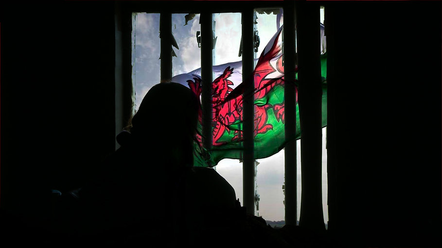 A silhouette of a woman with a baby in a prison cell.  Outside of the bars a Welsh flah flies in the wind.