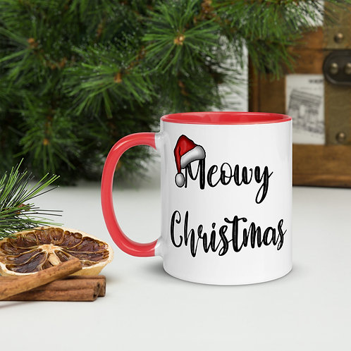 Meowy Christmas Mug with Color Inside
