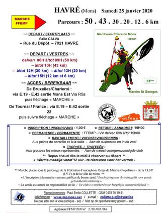 Marche  HAVRE (Mons - B) 25/01/2020