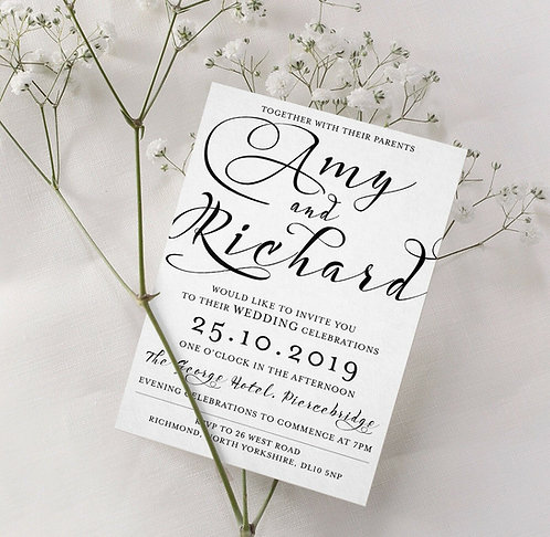 25 x Wedding Typography Invitations