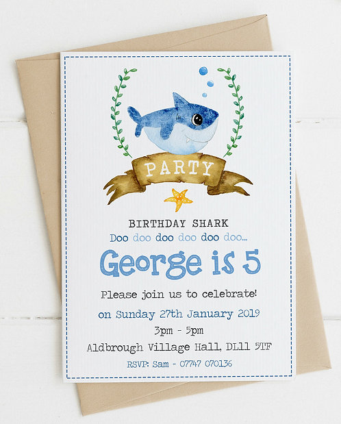 10 x Baby Shark Party Invitations