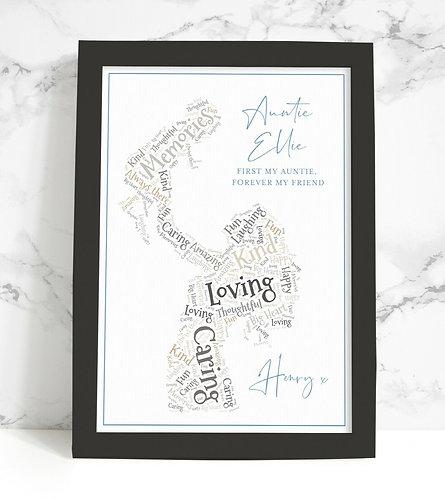 A4 Auntie/Sister/Friend Wordart Personalised Framed Print