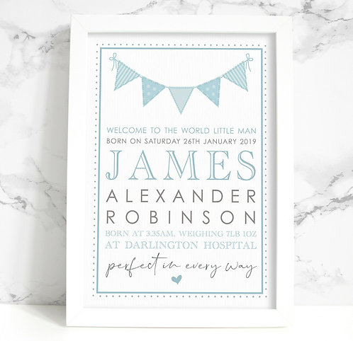 A4 New Baby/Christening Personalised Framed Print