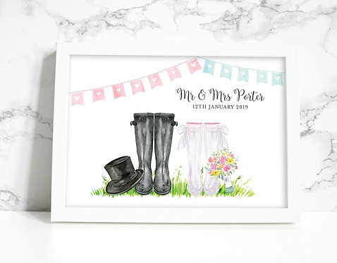 A4 Wedding Wellies Personalised Print