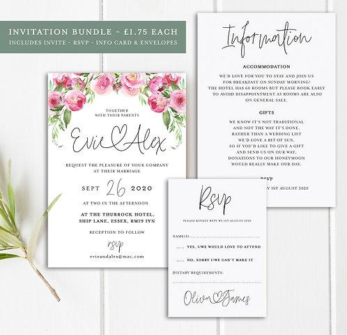 25 x Wedding Floral Invitation Bundles
