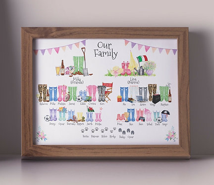 A3 Wellies Family Tree Personalised Framed Print