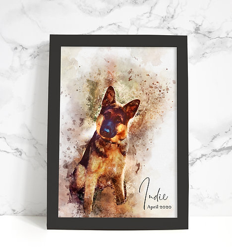Framed Personalised WatercolourArt Image Print A4