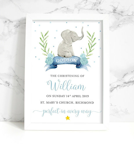 A4 New Baby Elephant Christening Personalised Framed Print