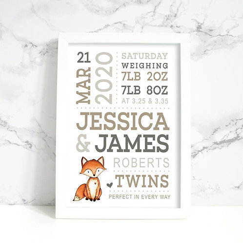 A4 New Baby Elephant/ Fox Personalised Framed Print
