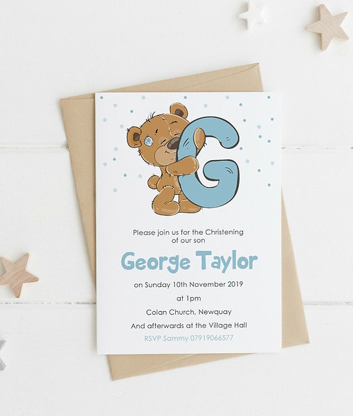 10 x Personalised Teddi Initial Party Invitations