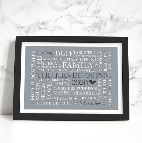 "Personalised Family WORDART Framed Print 12"" x 10"""