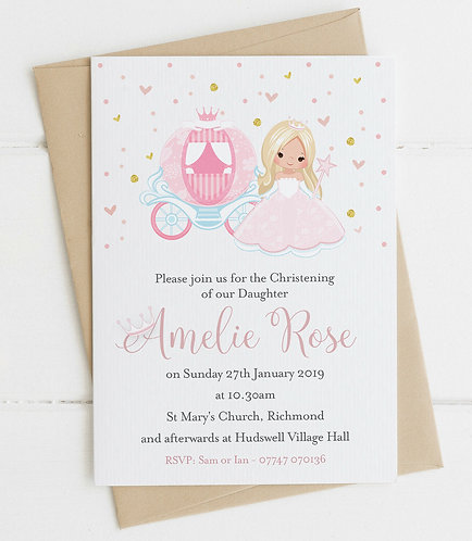 10 x Personalised Fairy Princess Christening/Baptism Invitations