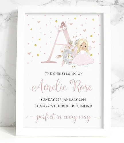 A4 Christening/New Baby Fairy Princess Initial Personalised Print