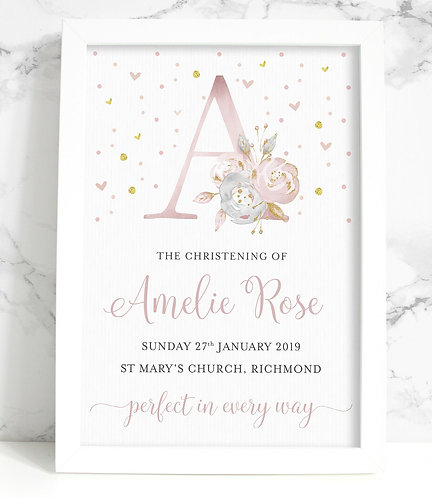 A4 Christening Initial Personalised Framed Print