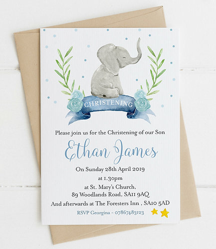 10 x Personalised Baby Elephant Christening/Baptism Invitations
