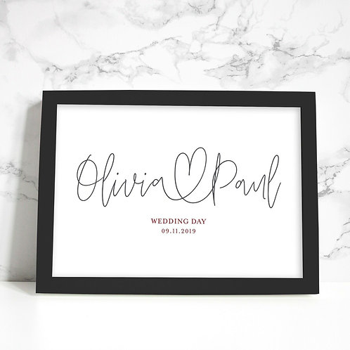 A4 Wedding/Engagement Personalised Print