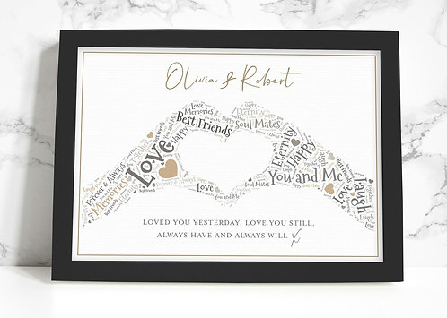 A4 Wedding Day Wordart Personalised Framed Print