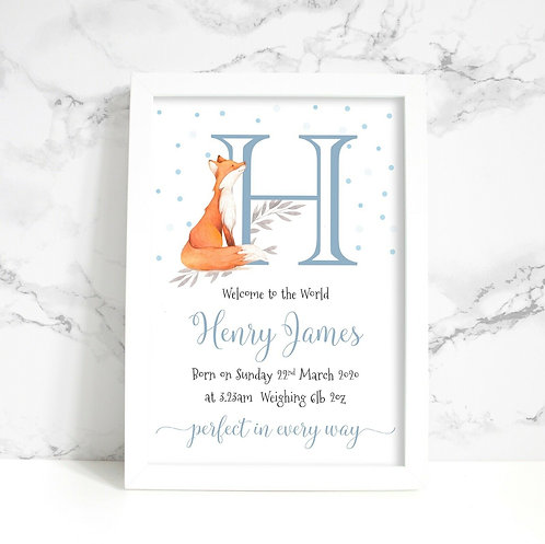 A4 New Baby/Christening Fox Initial Personalised Framed Print