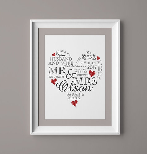 A4 Wedding Day Heart Personalised Print