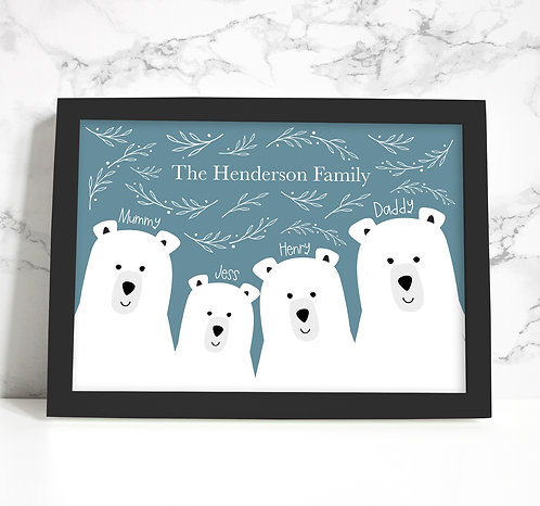 Personalised Family Bear Print