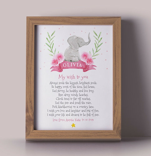 A4 New Baby Elephant Wish Poem Personalised Framed Print