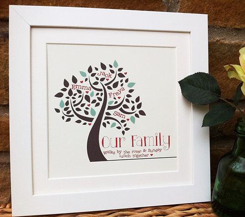 """Framed Family Tree Print Square 10"""""""
