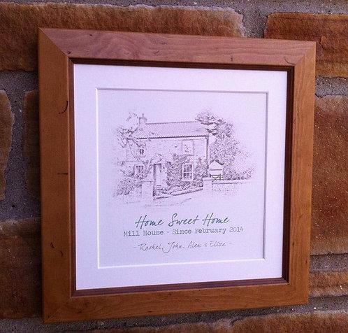 """Framed Home Sketch Print 16"""""""