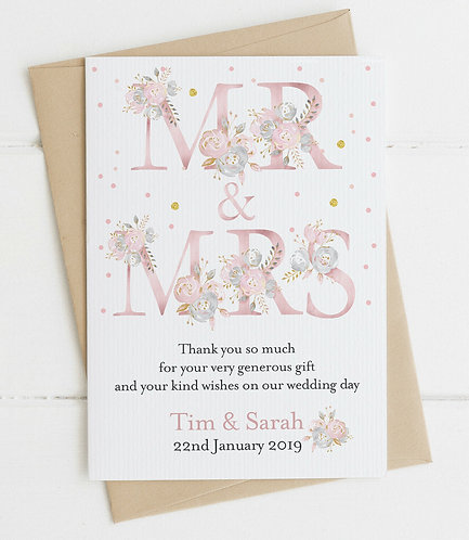10 x Personalised Mr & Mrs Wedding Thank You Cards