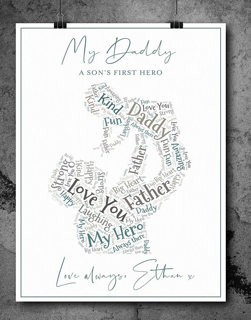 A4 Daddy Wordart Personalised Print