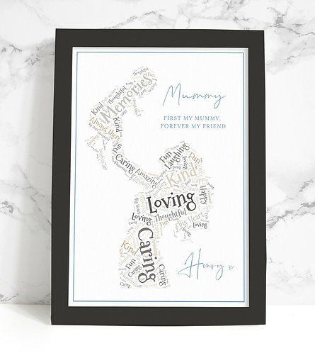 A4 Mummy Wordart Personalised Framed Print