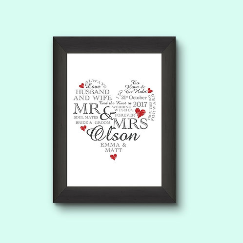 A4 Wedding Day Heart Personalised Framed Print