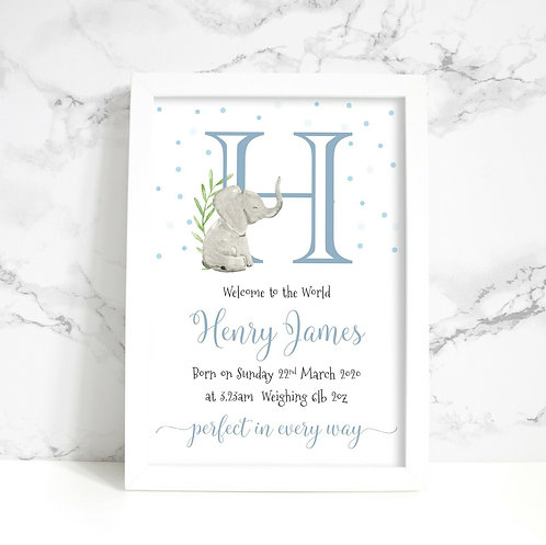 A4 New Baby/Christening Elephant Initial Personalised Framed Print