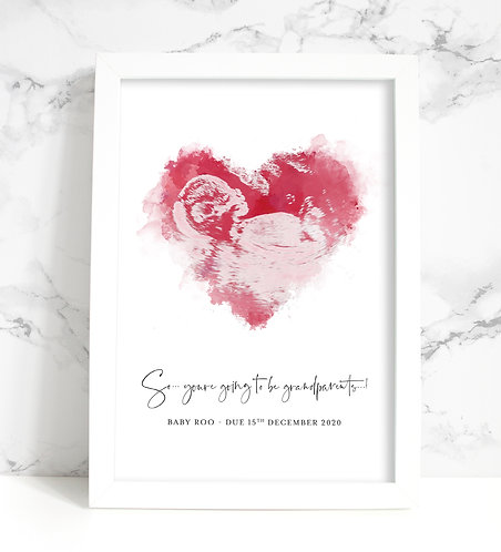 Scan/Ultrasound Watercolour Heart Personalised Print