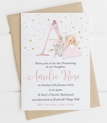 10 x Personalised Fairy Princess Initial Christening/Baptism Invitations