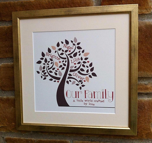 Framed Family Tree Print Square 16""
