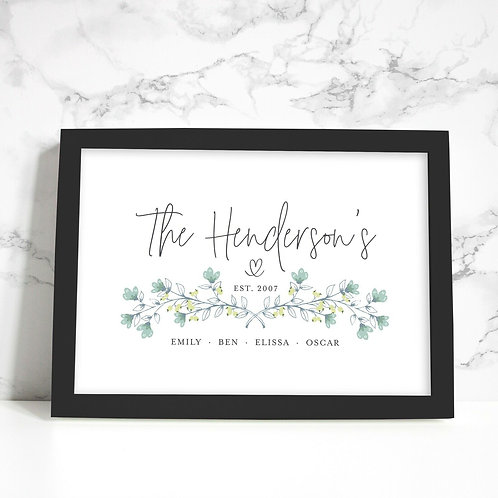 A4 Framed New Home Personalised Print
