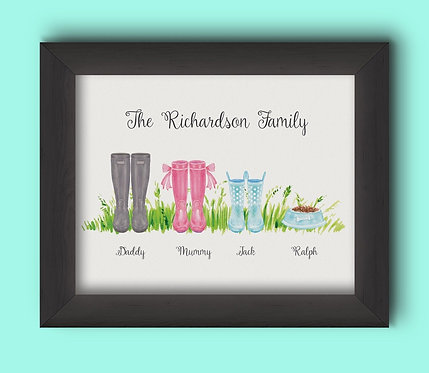 A3 Wellies Personalised Framed Print
