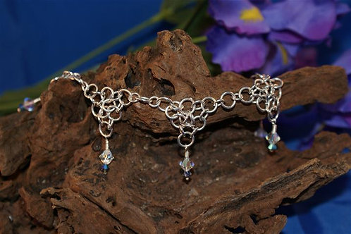 Chain-maille Anklet with Swarovski Accents