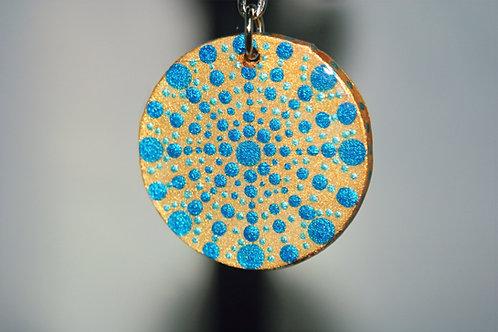 Blue Starburst Dot Mandala Keychain