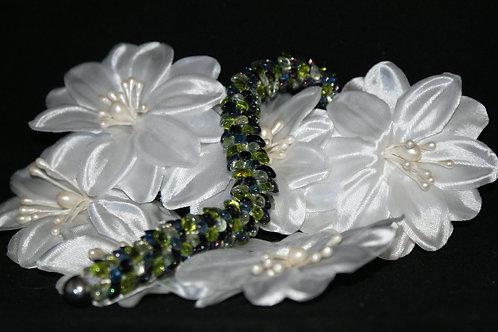 Chartreuse & Plum Kumihimo Snake Bracelet
