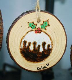 Christmas Pudding - Pyrography Tree Decoration