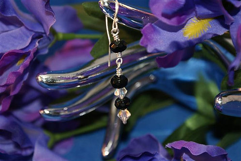Onyx & Swarovski Wound Earrings