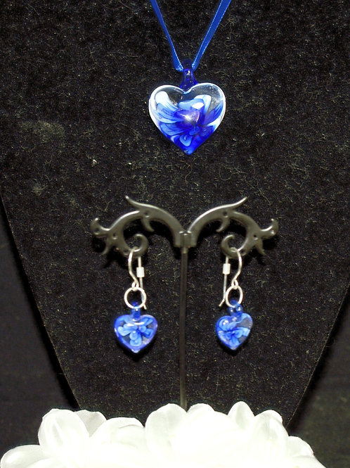 Royal Blue Flower Heart Set