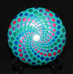 Green Spiral Dot Mandala Stone