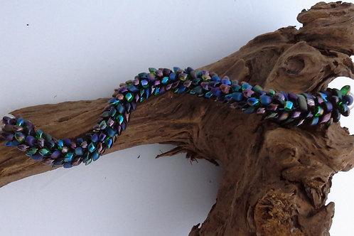 Multicoloured Iridescent Kumihimo Snake Bracelet