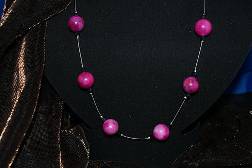 Cerise Agate Beads with Black Crystals Necklace
