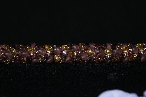 Smokey Amethyst & Gold Kumihimo Snake Bracelet